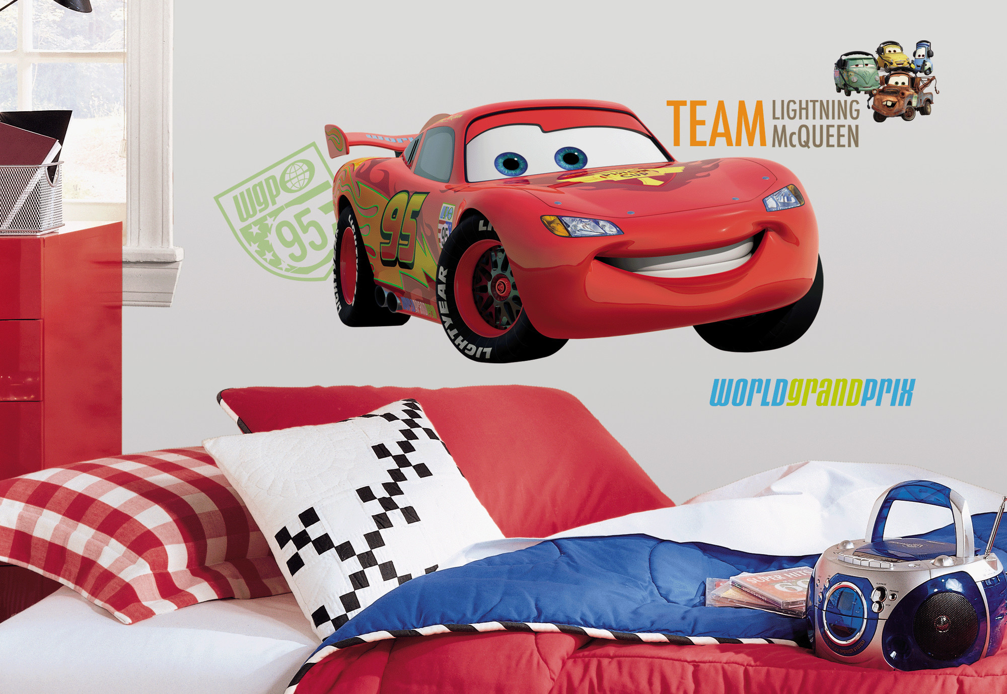 cars 2 peel and stick giant wall decal walmart com