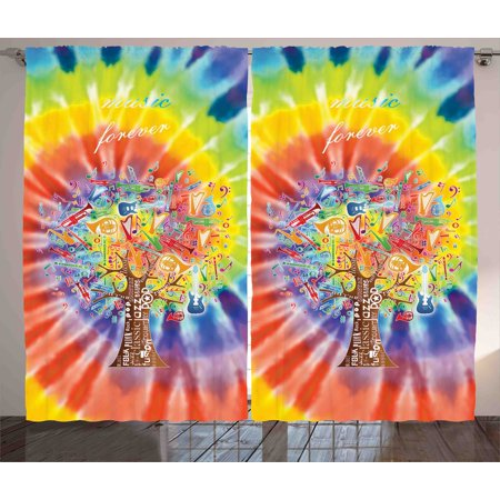 Tree Curtains 2 Panels Set, Tree with Various Instruments Musical Notes Music Genres Typography Colorful Backdrop, Window Drapes for Living Room Bedroom, 108W X 108L Inches, Multicolor, by Ambesonne (Instrument Panel Saitek)