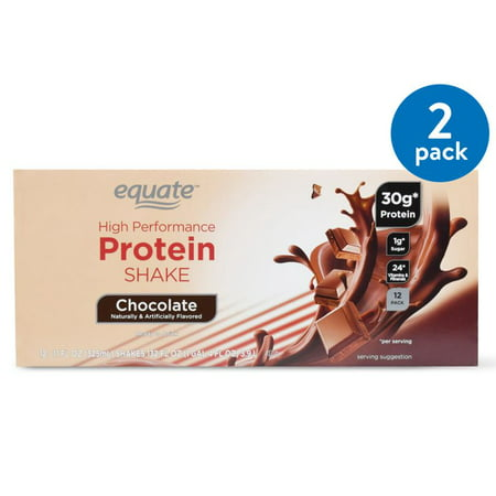 (2 Pack) Equate High Performance Protein Shake, Chocolate, 132 Oz, 12 (Best Chocolate Protein Shake Recipe)