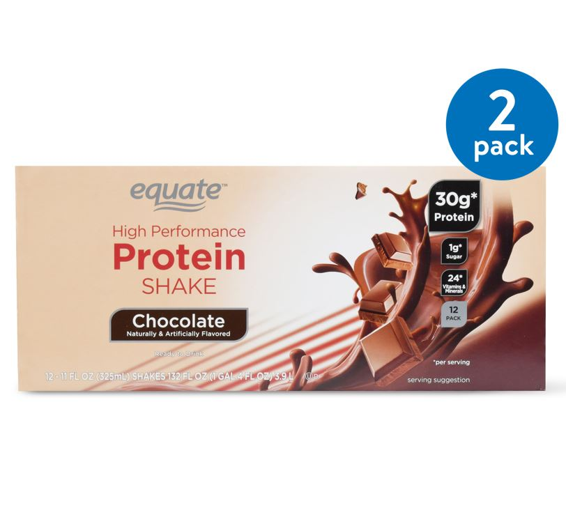 (2 Pack) Equate High Performance Protein Shake, Chocolate, 132 Oz, 12 Ct