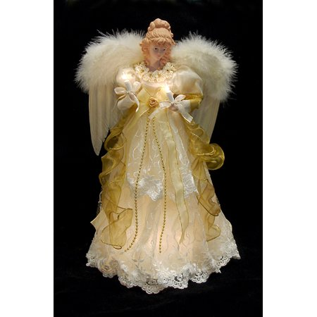 16 5 lighted ivory and gold angel christmas tree topper clear lights. Black Bedroom Furniture Sets. Home Design Ideas