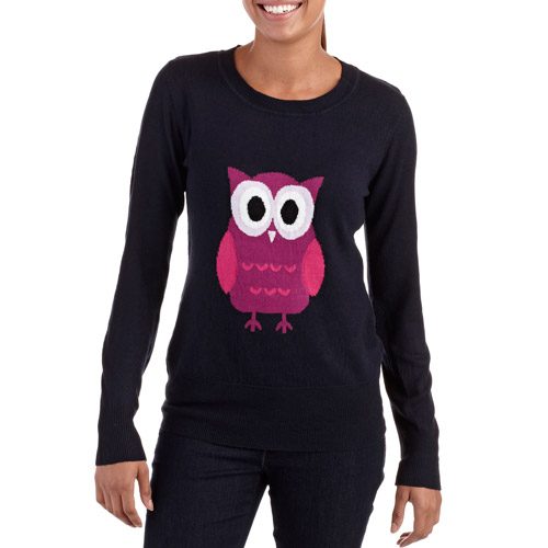 Juniors' Long Sleeve Sweater with Owl