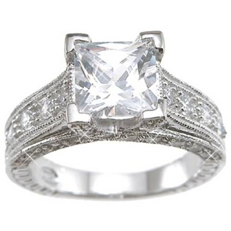 CZ Sterling Silver Rhodium Finish Princess Antique-Style Wedding