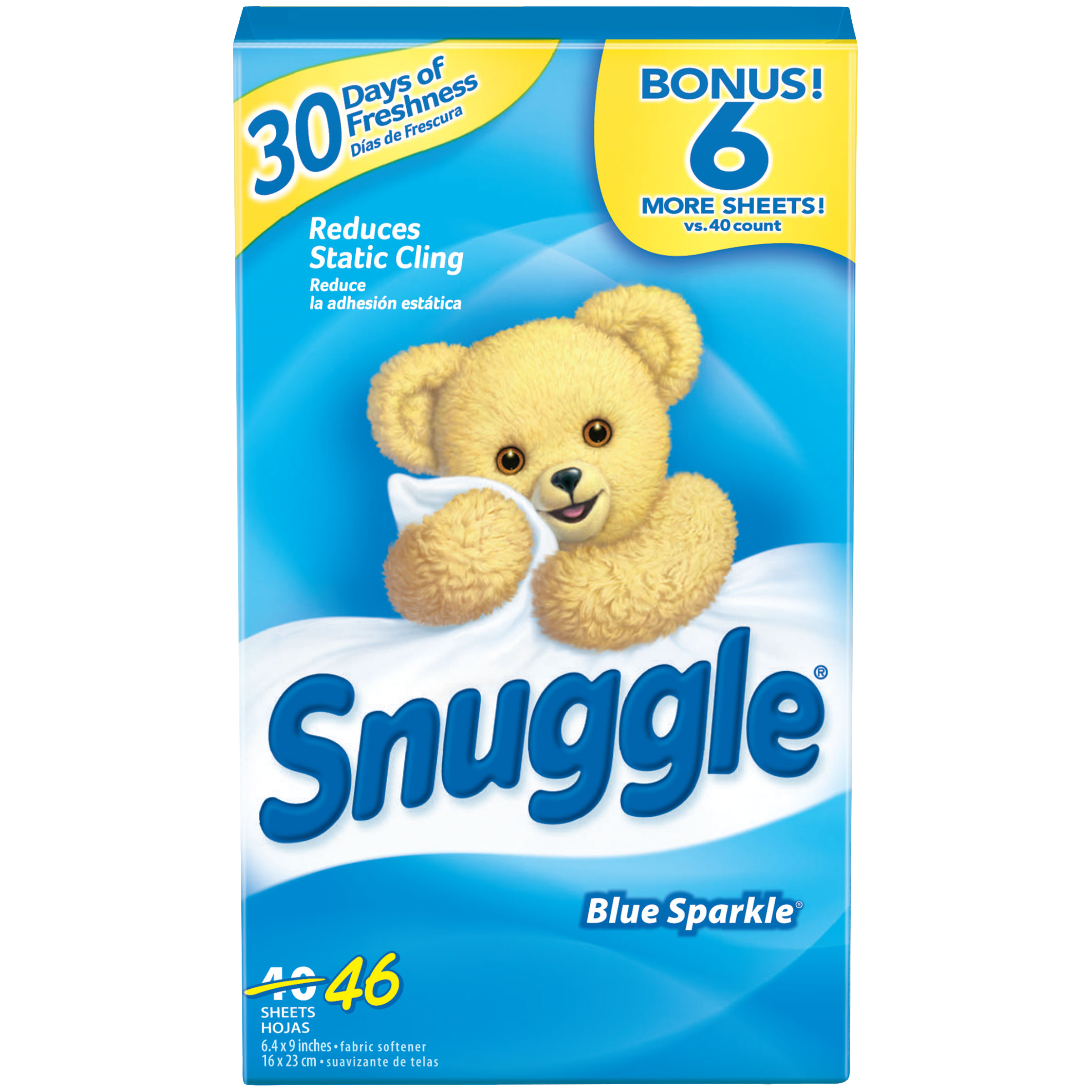 Snuggle Fabric Softener Sheets, Blue Sparkle, 46 Count