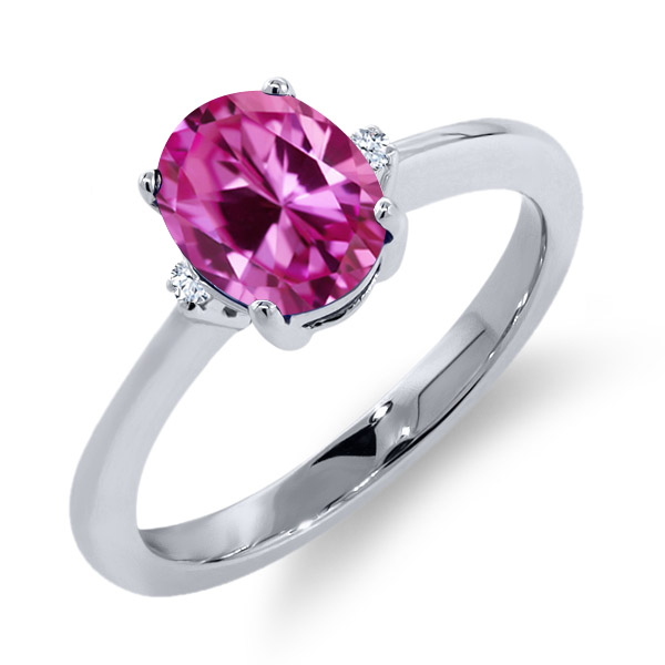 1.67 Ct Oval Pink Created Sapphire White Sapphire 18K White Gold Ring by