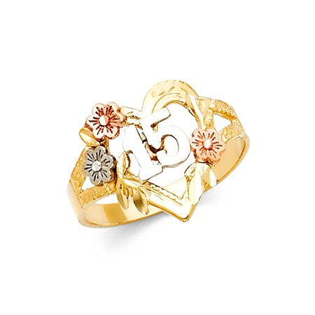 14k Yellow White Rose Gold Quinceanera 15 Heart Ring Flowers Band Polished Solid Tri Color 15MM