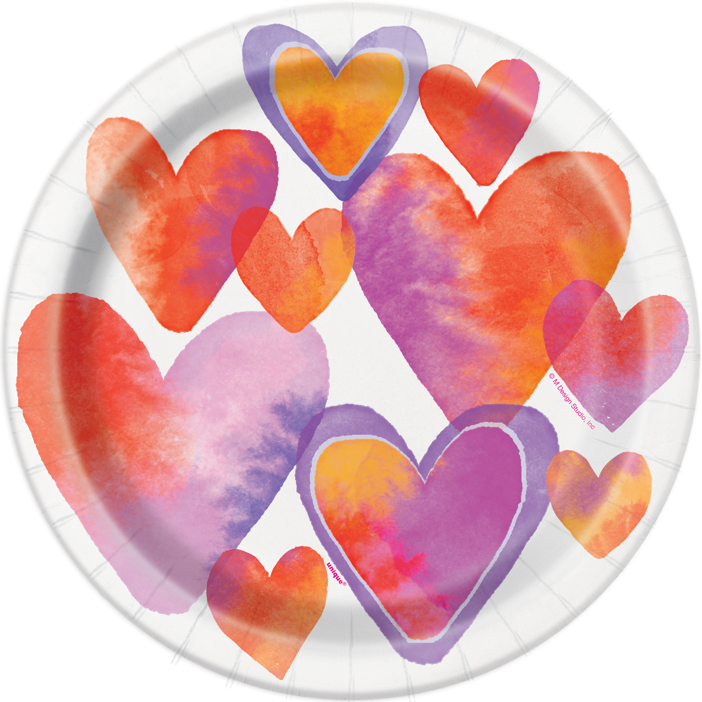 """9"""" Valentine's Day Watercolor Hearts Paper Dinner Plates, 8ct"""