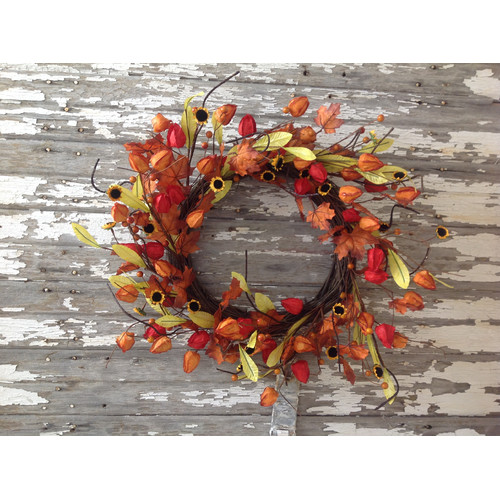 Mills Floral Fall Japanese Lantern Wreath