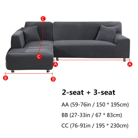 2pcs l shaped sofa cover left chaise jacquard polyester stretch fabric sectional sofa slipcovers for living room waterproof sofa cover