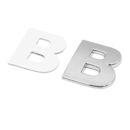 Silver Tone Metal B Letter Shaped Car Auto Exterior Emblem 3D Sticker Decor - image 1 of 2