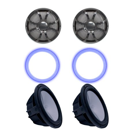 "Two Wet Sounds Revo 10"" Subwoofers, Grills, & RGB LED Rings - Black Subwoofers & Black Closed Face SW Grills - 4 Ohm"