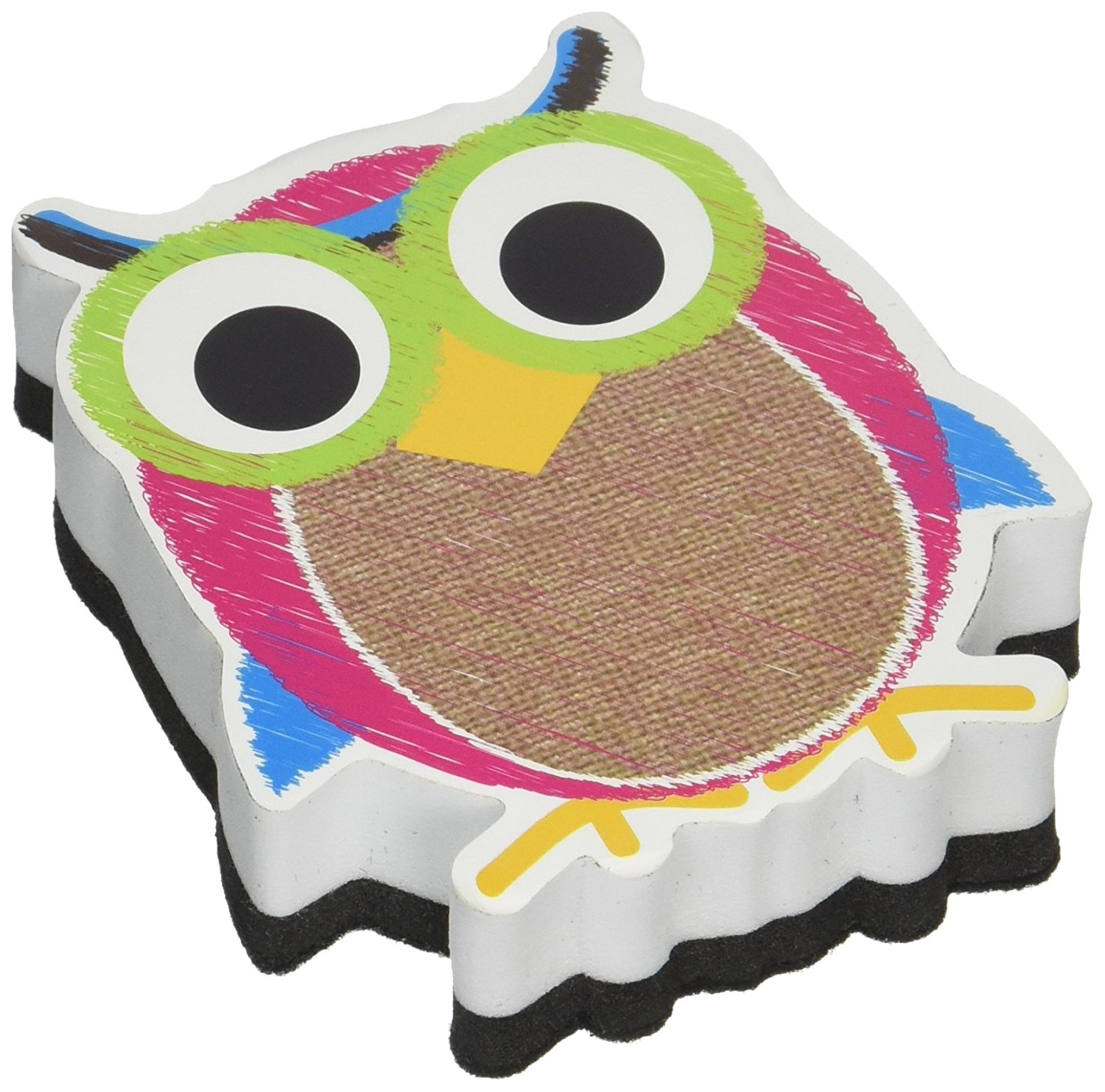 "Burlap Scribble Owl Magnetic Whiteboard Eraser, Size 3.75"" magnetic white board By Ashley Productions"