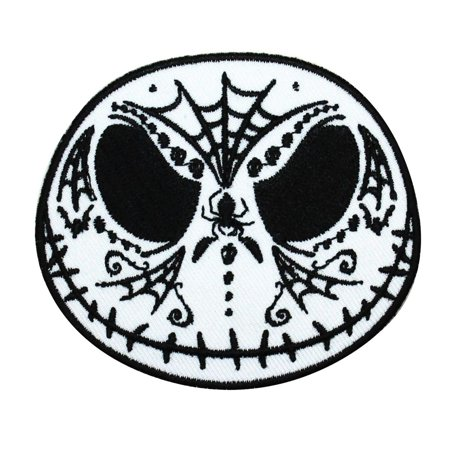 Jack Skellington Spider Web Calavera Head Iron-On Patch Halloween Craft Applique (Gooseberry Patch Magazine Halloween)
