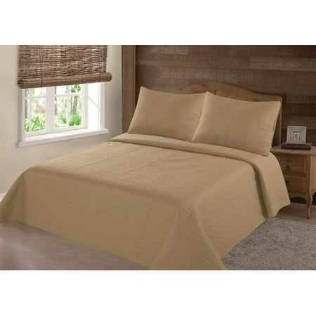MODREN COLLECTION 1900 COUNT KING NENA GOLD SOLID CLOSOUT QUILT BEDDING BEDSPREAD COVERLET PILLOW CASES SET (Gold King Bedding)