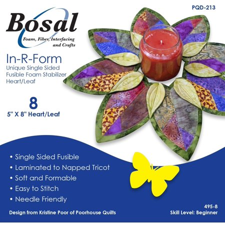 "In-R-Form Unique Single Sided Fusible Foam Stabilizer 5"" x 8"" Heart/Leaf 8/pkg, Laminated to napped tricot. Soft and formable. Easy to stitch. Needle.., By Bosal"
