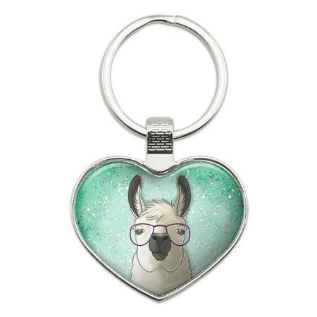 Hip Llama with Glasses Heart Love Metal Keychain Key Chain Ring (Glass Heart Keychain)