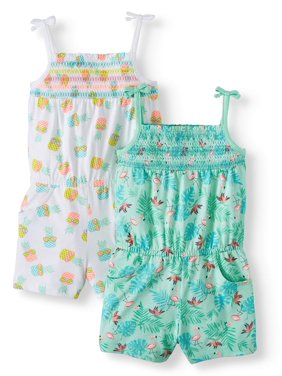 77fdbc092390 Product Image Wonder Nation Smocked Rompers, 2-pack (Toddler Girls)
