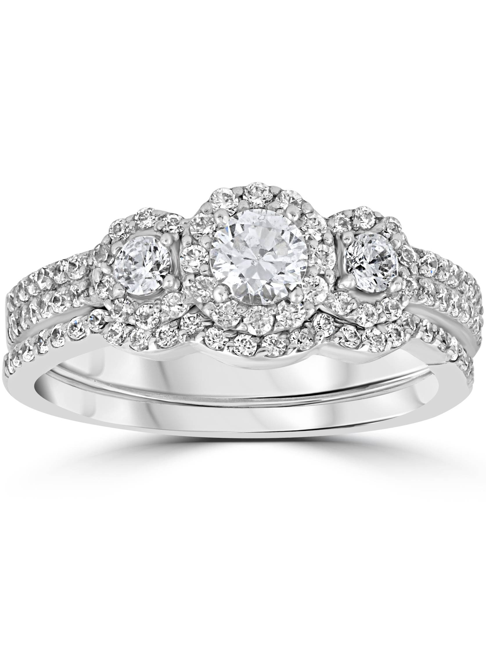1.00Ct 3 Stone Diamond Engagement Wedding Ring Set 10K White Gold