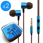 2-Pack FREEDOMTECH Earphones in Ear Headphones Earbuds with Microphone and Volume Control for iPhone, iPod, iPad, Samsung Galaxy, Xaiomi and Android Smartphone Tablet Laptop, 3.5mm Audio Plug Devices