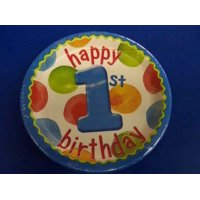 "Big 1 Dots Boy 1st Polka Blue Kids First Birthday Party 7"" Paper Dessert Plates"