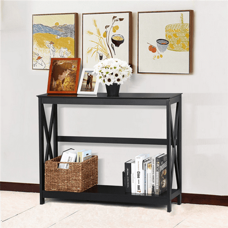 Yaheetech 2 Tier X Design Hallway Large Console Table Entryway Accent Tables With Storage Shelf Living Room Entrance Furniture Black