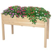 KARMAS PRODUCT Raised Garden Bed Elevated Standing Wood Planter Box Natural Solid Fir Wood Sturdy for Planting Flower Vegetable Fruit in Patio Backyard Balcony Outdoor, Cama de jardn elevada