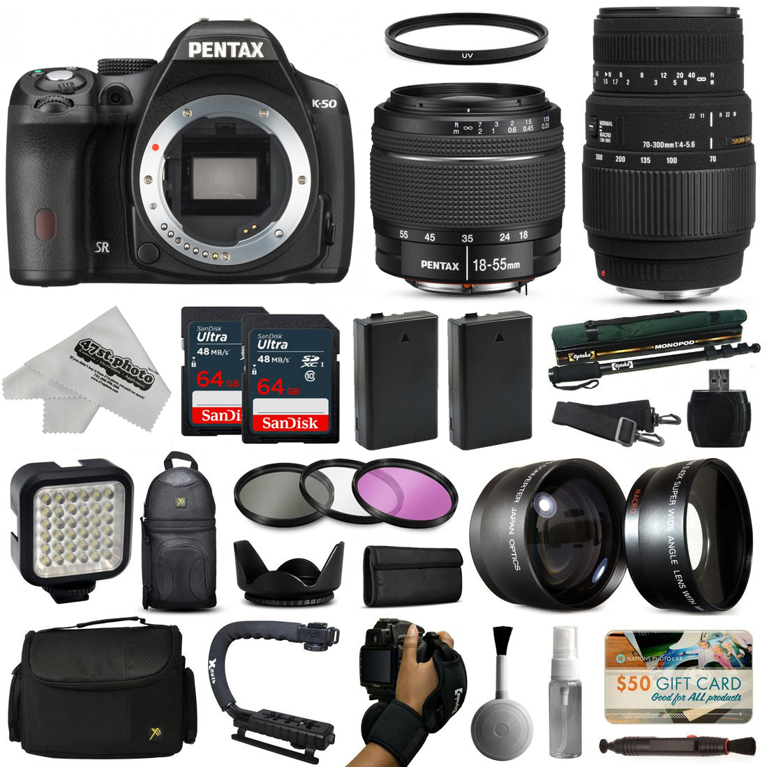 Pentax K-50 DSLR Digital Camera with DA L 18-55mm WR + Sigma 70-300mm Lens + Sandisk 128GB Memory + 2 Batteries + LED Video Light + Backpack + Case + Filters + Auxiliary Lenses + $50 Gift Card + More!