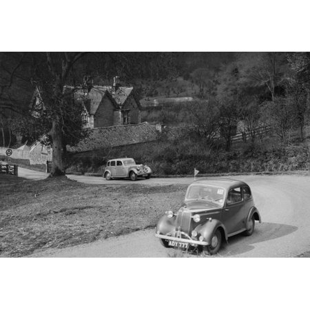 Vauxhall 10 of Miss IM Burton amd Rover of CG Dunham competing in the RAC Rally, 1939 Print Wall Art By Bill Brunell