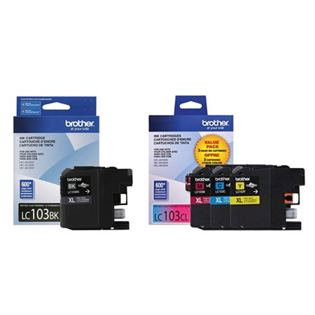 Brother Genuine LC103 4-Color High Yield Ink Cartridge Set (LC103BK, LC1033PKS)