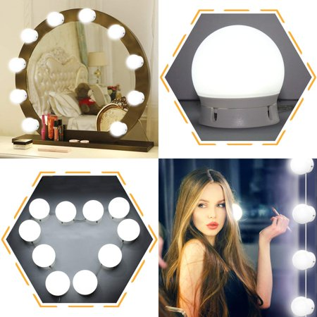 SOAIY Vanity Lights,10 Adjustable Hollywood Style LED Vanity Mirror Lights USB Powered Lighting Fixture Strip with UL Plug for Vanity Mirror with Dimmable White Lights for Makeup Mirror,No Mirror