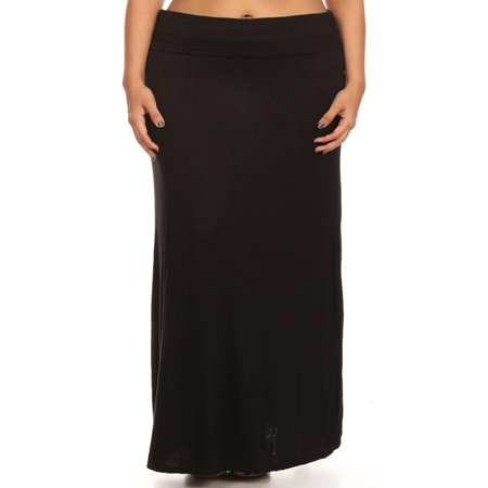 NEW MOA Women's Casual Solid Flared High Waist Long Plus Size Maxi Skirt/Made in USA
