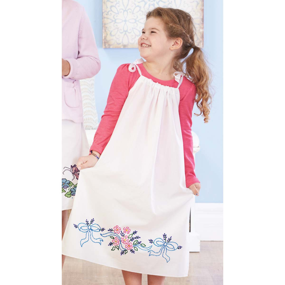 Herrschners® Pillowcase Dress-Flowers, Ribbons, & Bows Stamped Embroidery Kit