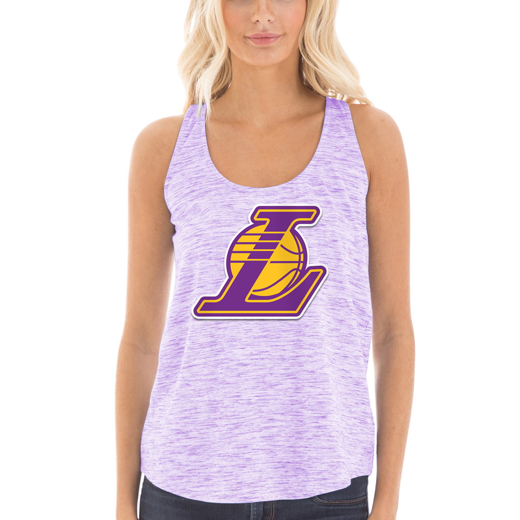 Los Angeles Lakers New Era Women's Space Dye Jersey Racerback Tank Top - Purple