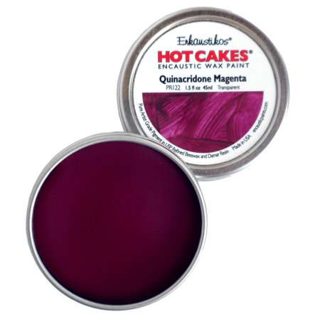 Enkaustikos Hot Cake Encaustic Wax Paint, 1.5 oz. Tin, Quinacridone (Magenta Wax)