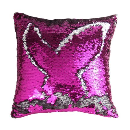 Wendana Decorative Mermaid Pillow Case,Play Tailor Magic Reversible Sequin Mermaid Pillow Cover,Rose-Silver Color,Throw Cushion Case 40x40cm For Sofa Livingroom,16x16 Inches For Children