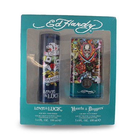 Ed Hardy 2 Pc. Gift Set (love & Luck Eau De Toilette Spray 3.4 Oz + Hearts & Daggers Eau De Toilette Spray 3.4 Oz / 100 Ml ) for Men by Christian (Love And Luck Ed Hardy Gift Set)