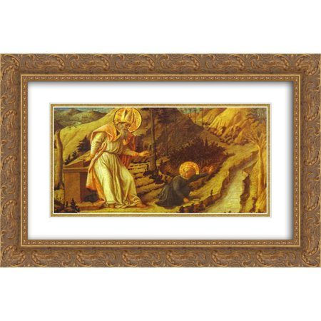 Halloween Store St Augustine (Filippo Lippi 2x Matted 24x16 Gold Ornate Framed Art Print 'The Vision of St.)