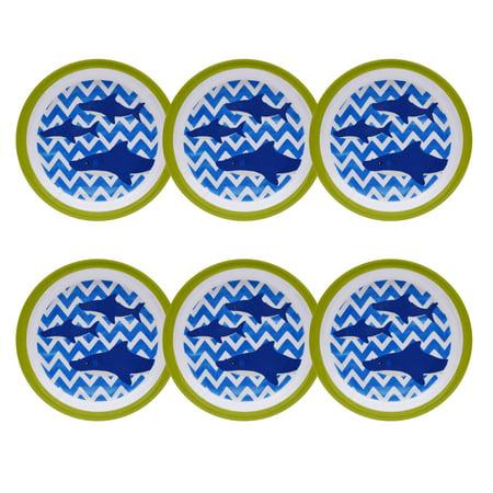Teema Plate Set (Mainstays Kids Melamine Shark Plates, Set of 6 )