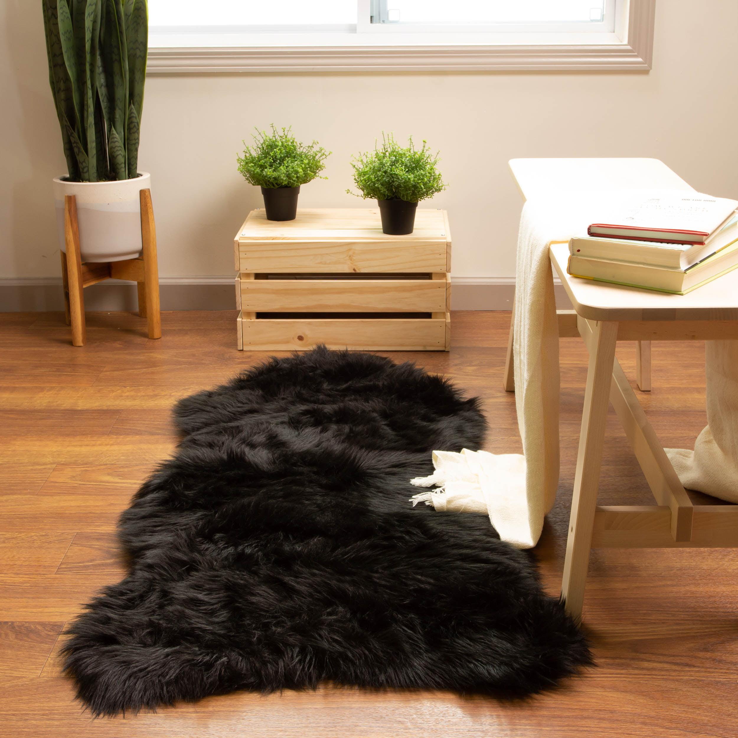 Ultra Soft Faux Sheepskin Fur Shag Rug Black 2 X 4 Sheepskin Walmart Com Walmart Com
