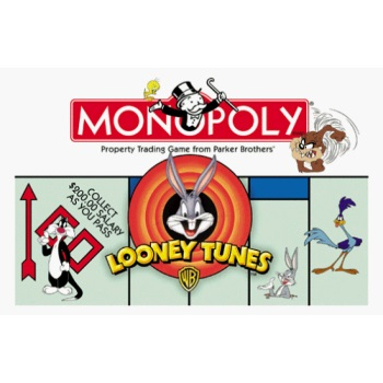 1999 Looney Tunes Monopoly Game with 8 Pewter Character Tokens by