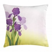 Garden Art Throw Pillow Cushion Cover, Flowers of Iris with Green Leaves Gardening Plants Spring Morning, Decorative Square Accent Pillow Case, 20 X 20 Inches, Violet Green and Yellow, by Ambesonne