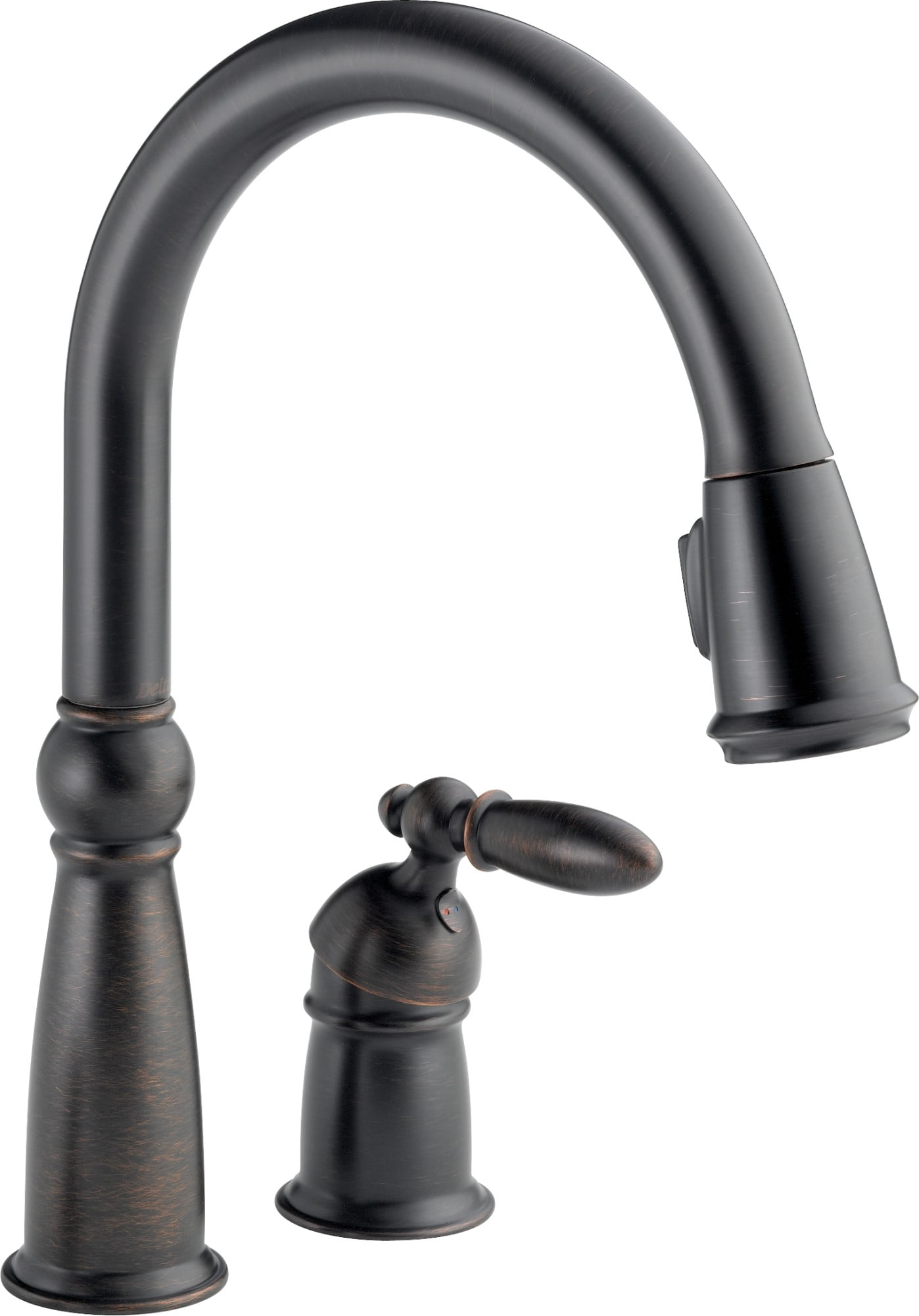 delta victorian single handle pull-down kitchen faucet