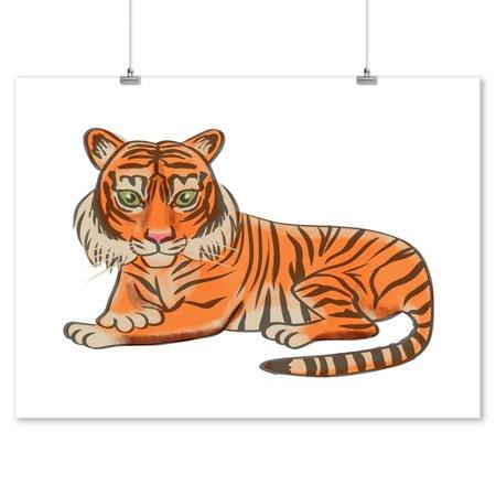 Carbon Lantern - Tiger - Soft Cartoon - Lantern Press Artwork (9x12 Art Print, Wall Decor Travel Poster)
