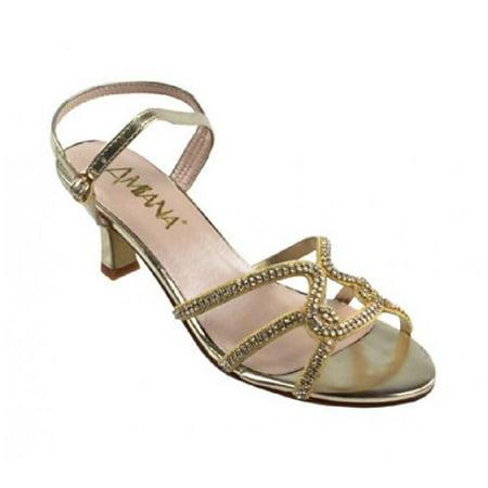 48b96c8799 Amiana - Amiana Girl's Rhinestone Kitten Heel Dress Sandal, Gold Rhinestone,  31 EU / 13 US - Walmart.com