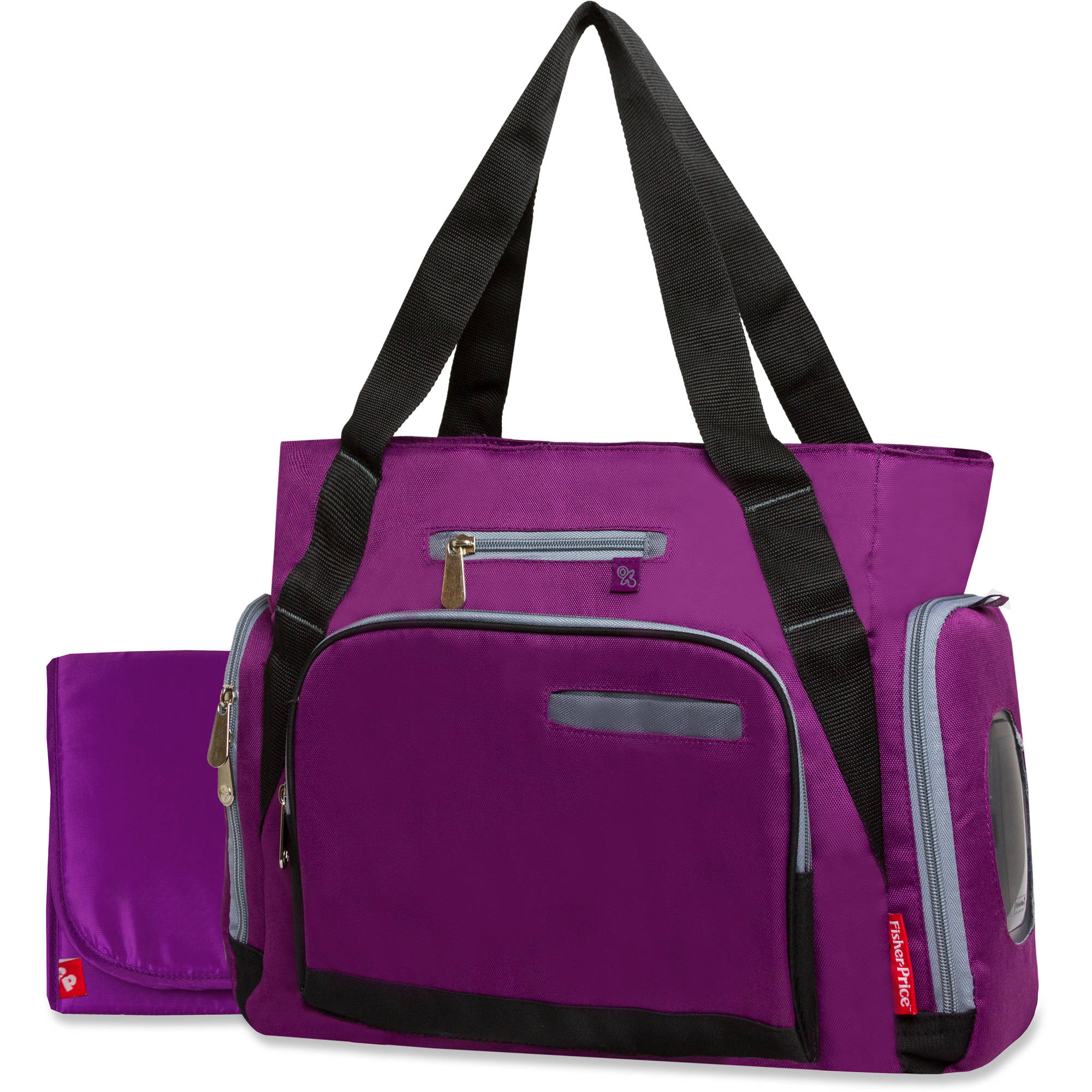 Fisher-Price Diaper Bag, Purple/Black