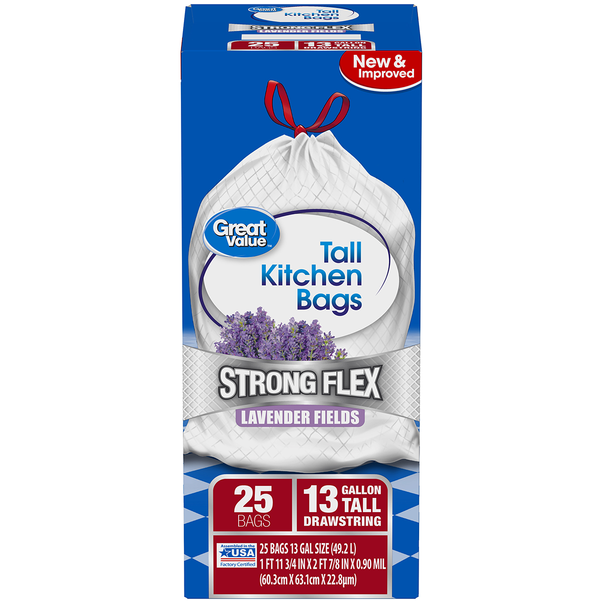 Great Value Strong Flex Tall Kitchen Drawstring Trash Bags, Island Oasis, 13 Gallon, 25 Count