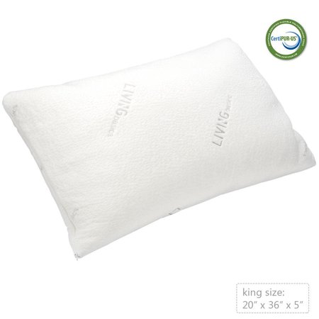 LIVINGbasics™ Bed Pillow Shredded Memory Foam Pillow with washable removable cooling cover,20x36inch - image 3 de 6