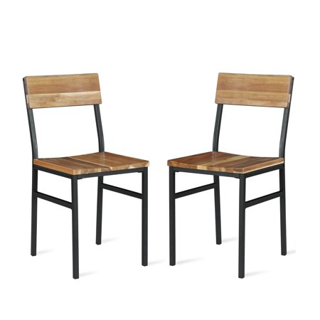 Novogratz Linden Wood and Metal Dining Chair, Natural, Gray (2-pack) ()