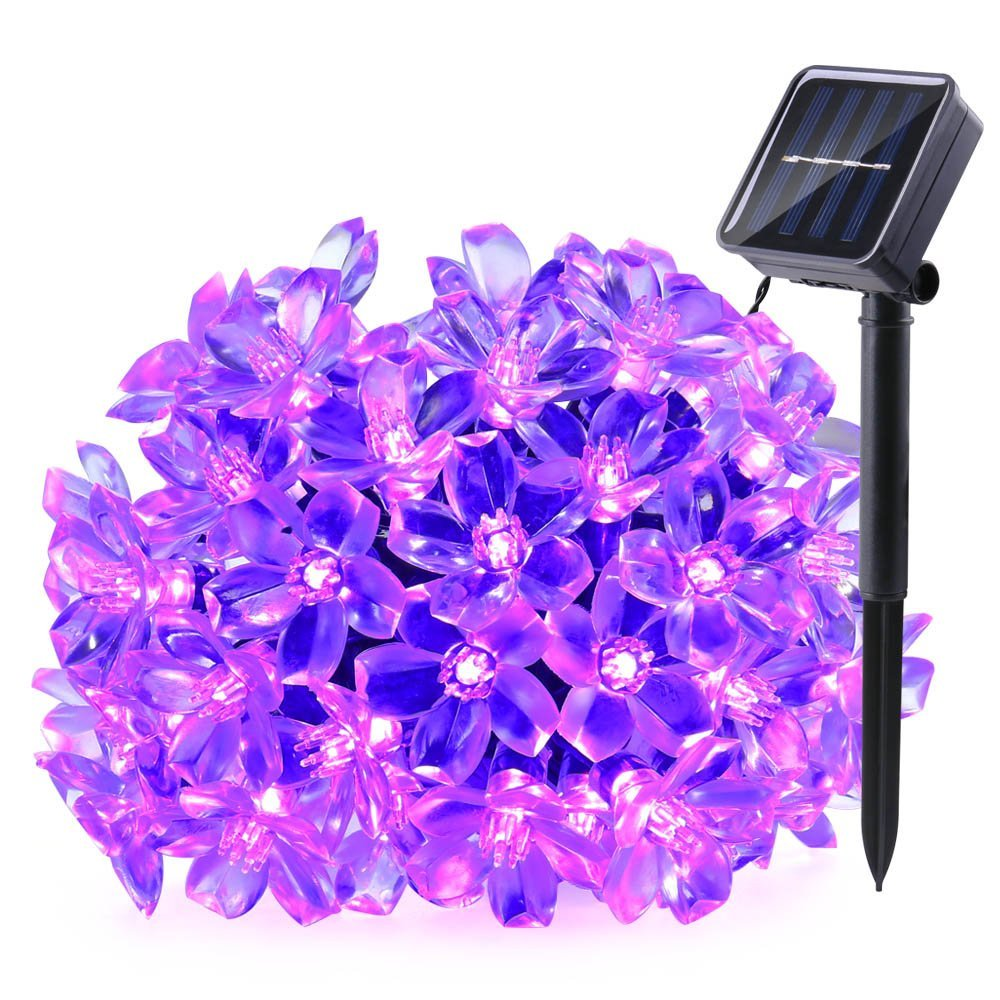 Qedertek Solar Christmas lights 50 LED Solar string Lights,22.96ft Blossom Flower Decorative String Lights for Home,Lawn,Garden,Wedding,Patio,Party,and Holiday Decorations(Purple)
