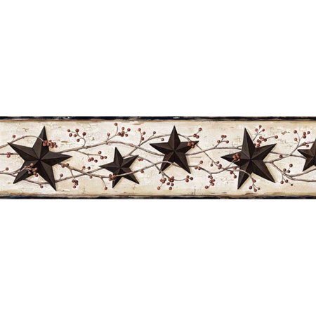 Pearl Embossed Border (Brewster Home Fashions Borders by Chesapeake George Tin Star Trail 15' x 27'' 3D Embossed Border Wallpaper )